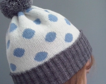Spotted Bobble Hat - blue, white, grey