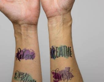 Watercolor Birth Affirmation Tattoos 20pk *English*