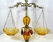 Decorative Vintage SCALES OF JUSTICE - Brass With Marble Base and Amber Glass - Prisms