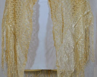 Vintage Shawl or Scarf -  Silky in a Cream - Fringed and Shell Patterned - Women's Scarf Shawl