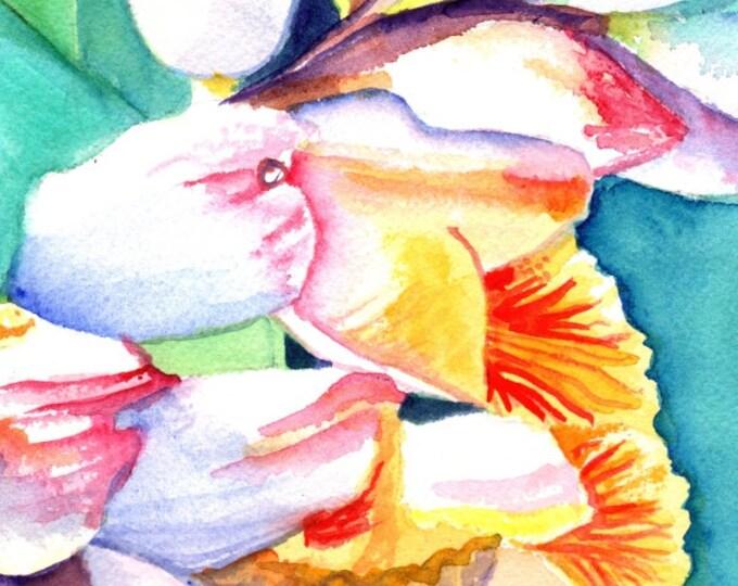 shell ginger art, original watercolor painting, tropical foliage, hawaiian paintings,  kauai hawaii, watercolour art,  kauaiartist, flowers