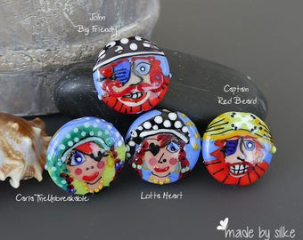 Handmade lampwork bead focal  |  Going Back to Being a Pirate: John Big Friendly |  lentil-shaped |  SRA  |  artisan glass |  Silke Buechler