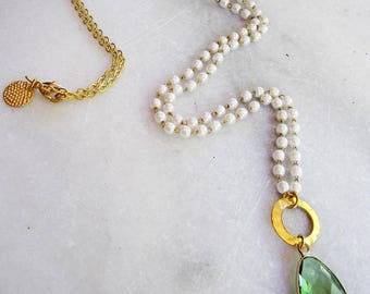 Long Pearl Necklace, Pearl Beaded Chain, Green Pendant Necklace, Rosary Chain, Bohemian Style, Boho Style Jewelry, Gardendiva