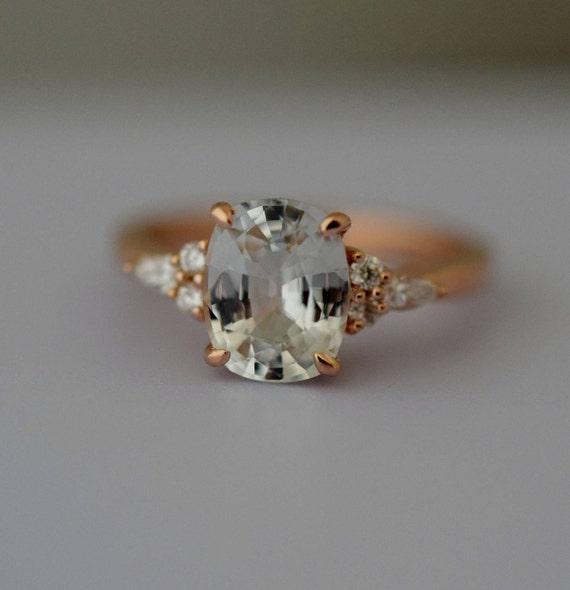 Engagement Ring Rose gold engagement ring Champagne Sapphire ring Campari ring cushion Rose gold diamond ring 2.46ct ring Eidelprecious