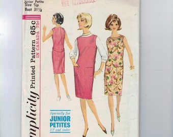 1960s Vintage Sewing Pattern Simplicity 5377 Misses One Piece Straight Dress or Jumper and Blouse 5JP Bust 31 32 60s 1964