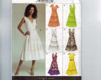 Misses Sewing Pattern Vogue V8233 8233 Misses Wrap Dress Ruffle Tiered Skirt Cap Sleeves Sleeveless Size 6 8 10 Bust 30 31 32 33 UNCUT