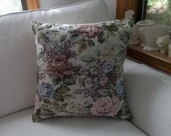 Pink Floral Tapestry Pillow Custom Sizes Handmade Cottage Style Decorative Pillow Pink Roses With or Without Insert