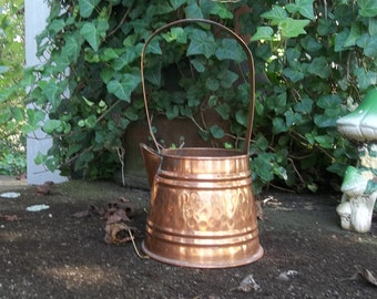 Vintage Copper Watering Can Copper Pitcher Fall Decor Copper Flower Vase French Country Farmhouse