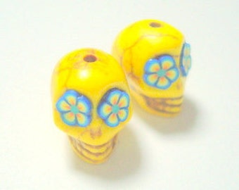 Blue and Yellow Flower Eyes in Day of The Dead Sugar Skull Beads-12mm