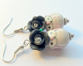 Pink Owls and Black Roses Handmade Earrings