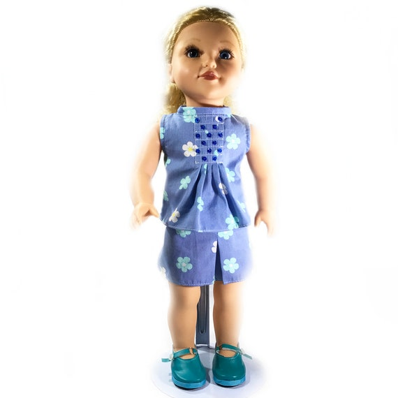 "Two-piece Outfit (Blouse and Skirt) for American Girl and Other 18"" Dolls: Blue Floral Print"