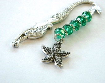 Mermaid Bookmark with Starfish Charm Shepherd Hook Style Silver Colored Detailed Bookmark with Emerald Glass Beads