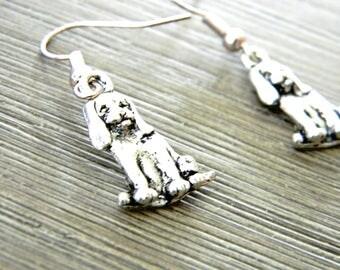 Beagle Dog Earrings Silver Color Dangle Earrings