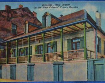 Madame John's Legacy French Quarter New Orleans LA Louisiana Linen Postcard