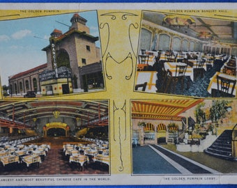 Golden Pumpkin Chinese Cafe Multi Views Chicago Illinois Linen Postcard Unused