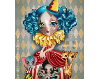 Penelope's Imaginarium 8 x 10 Print Vintage Circus, Bohemian Circus, Clown Girl, Digital Illustration by Sandra Vargas