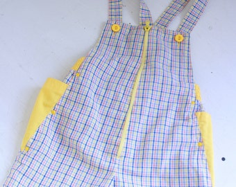 Vintage kids overalls red blue and yellow plaid eighties kid 3t