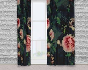 Big Pink Roses Dark Green Fabric Window Curtains