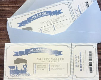 Train Ticket Birthday Invitation / DIY Printable PDF Template / Alphabet Boy Party
