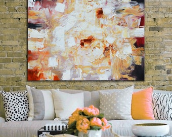 Cream red black Abstract Painting, original Painting, abstract unique one of a kind wall decor, painting on canvas, beige artwork large