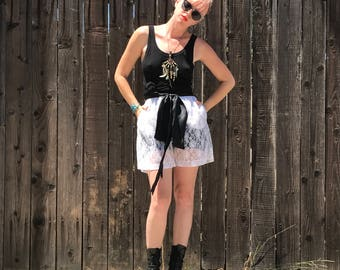 High Waisted Shorts // White Lace // See Through // Boho Festival Clothing // 90s Grunge // Sheer // Hippie Clothes // Saks Fifth Avenue