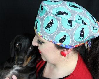 MAGPIE BIRD Scrub cap/ Theatre cap/ for Doctor Nurse Vet.  Retro/ Rockabilly/ Vintage inspired