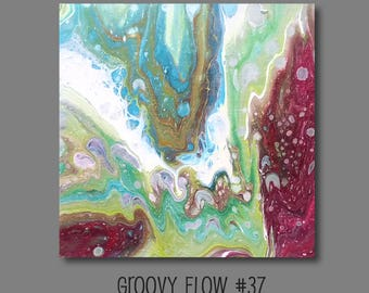Groovy Abstract Acrylic Flow Painting #37 Ready to Hang 8x8
