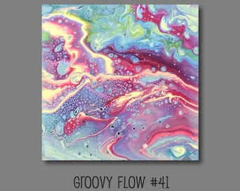 Groovy Abstract Acrylic Flow Painting #41 Ready to Hang 8x8