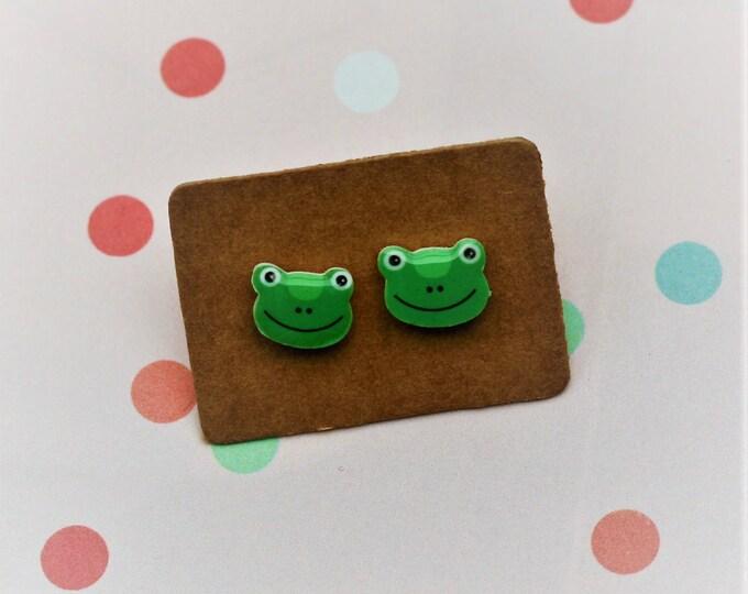Frog Earrings, Teeny Tiny Earrings, Frog Face Jewelry, Cute Earrings