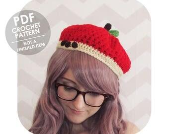 crochet hat pattern - apple beret crochet pattern - halloween costume - adorable and sweet novelty hat - crochet beret pattern