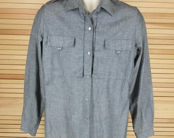 Vintage 70s blue shirt long sleeves pocket tabs shoulder epaulets size M medium chest 42 womens