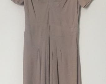 Vintage 60s Pleated Taupe Dress with Hand Stitching and Beading