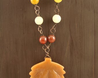 Oregon Picture Jasper and  Peach Aventurine and Pearl Copper Wire Wrapped Necklace