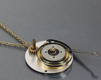 Steampunk Jewelry- Upcycled Clock Spring and Gear Necklace, Brass Steampunk Necklace, Industrial Necklace, Unique Contemporary Jewelry