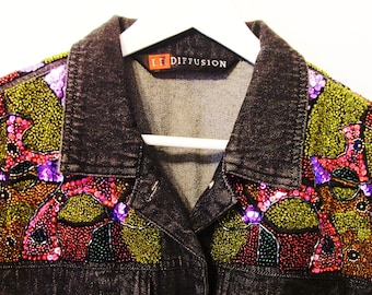 Vintage Beaded Black Denim Jacket / 1991 IB Diffusion / Size 16 / Red, Pink, Purple, Gold & Green Sequins - Beads / Unique Gift Under 50