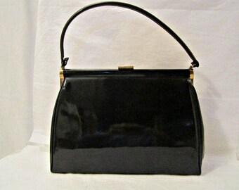 Patent Leather Purse Black 50's Structured Handbag, Vintage USA Purse,  Mad Men Fashion Bags