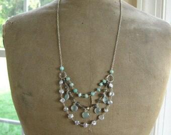 "Multi strand Boho Gemstone Necklace-Tiered Necklace-""Storm Cloud"""