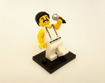 Freddie Mercury Custom Keychain, Necklace -or- Just The Figure  - Fan Art Crafted From LEGO® Elements
