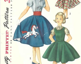 1950s Simplicty 1741 Vintage Sewing Pattern Girls Circle Skirt with Pony Applique, Jumper, Blouse, Cummerbund Size 10, Size 12