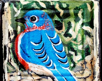 Original Blue Bird Painting on a Textured 100 year old tin tile/ceiling tile/antique/reclaimed/wild flowers/Linda Kelly/bright