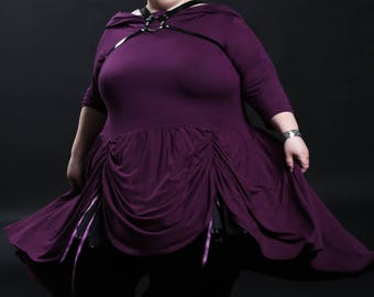 """Hooded Cowl High-Low Dress - Goth Punk Rock Witchy Bustle Front """"Hooded Hi-Low Dress"""" - Petite to Plus size - Custom to Order - XXS-5XL"""