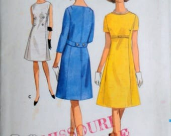 Vintage 60's Sewing Pattern, Butterick 4076 Misses' Semi Fitted A Line One-Piece Dress, Size 14, 34 Bust, Mad Men Mod 1960's Fashion