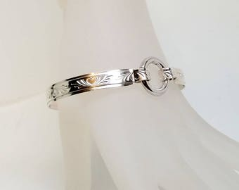 "7.25"" Hearts all Around Sterling Silver Slave Bracelet With Sterling Silver Hinged O Snap Ring Clasp"