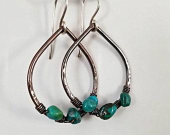 Turquoise Earrings, Teardrop Copper, Sterling Silver, Boho Chic, Bohemian Earrings, Wire Wrapped Hoops, Beaded Hoops, Women's Dangle Hoops