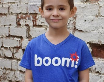 BOOM! Fireworks Blue V-neck Tshirt w/Ultrasuede Lettering, 4th of July, Baby Shirt, Toddler- Etsy kid's fashion, awesome kids clolthing