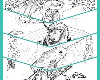 Fantasy Animals Nature Beauty 20 Page Coloring Book PDF