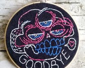 "pink & blue GOODBYE skull - 5"" hand embroidered wall hanging"