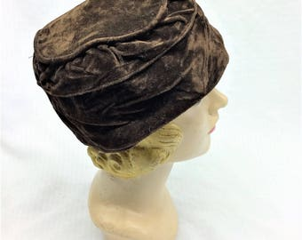 1920s Vintage Brown Velvet Cloche Hat Needs TLC 23 Large