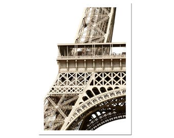 Eiffel Tower Paris Photography Print French Architecture Sepia Wall Art-L