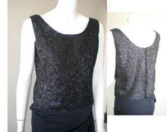 Vintage 1960s Lux Beaded Top / Sequined Cocktail Shell or Sleeveless Top, Black Beads and Sequin, Mad Men Style, medium